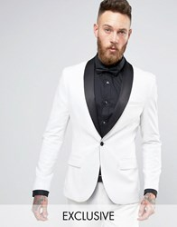 Only And Sons Super Skinny Tuxedo Suit Jacket White