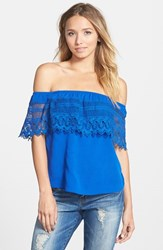Junior Women's Socialite Crochet Off The Shoulder Top Royal