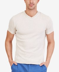Nautica Men's Striped V Neck T Shirt Sea Sand Heather