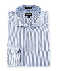 Neiman Marcus Striped Oxford Dress Shirt Blue