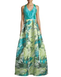Theia Racerback Floral Jacquard Ball Gown Turquoise Multi