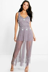 Boohoo Boutique Beaded Barely There Maxi Dress Grey