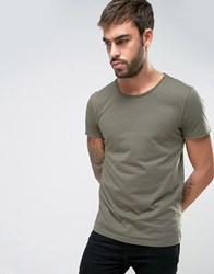 Boss Orange By Hugo Raw Edge T Shirt Regular Fit In Green Green