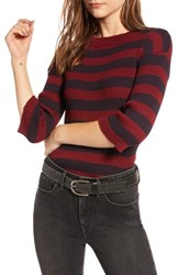Treasure And Bond Striped Sweater Burgundy Navy Stripe