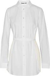 Mcq By Alexander Mcqueen Plisse Chiffon Paneled Cotton Poplin Blouse White