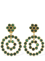 Sylvia Toledano Flower Candies Brass Clip On Earrings Green