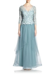 Teri Jon By Rickie Freeman Lace Top Gown Aqua