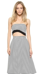Nicholas Wave Hem Tube Top White Black