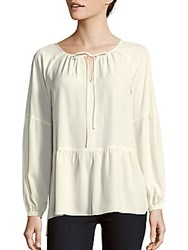 1.State Solid Tie Neck Peasant Blouse Chalk