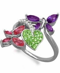 Kaleidoscope Multi Colored Swarovski Crystal Elements Double Butterfly Ring In Sterling Silver 1 3 4 Ct. T.W.