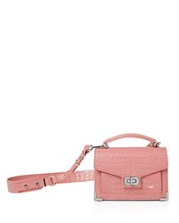 The Kooples Emily Croc Embossed Leather Mini Crossbody Pink