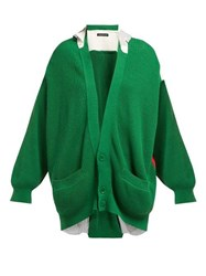Undercover Patchwork Cotton Cardigan Green