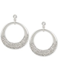 Touch Of Silver Crystal Pave Gypsy Hoop Earrings In Plate Silver