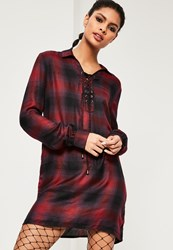 Missguided Red Lace Up Check Shirt Dress