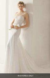 Women's Rosa Clara 'Volga' Beaded Tulle Trumpet Dress In Stores Only