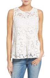 Halogenr Women's Halogen Cotton Lace Ruffle Hem Tank Ivory Lace
