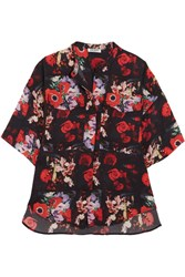 Kenzo Floral Print Silk Georgette Shirt Red