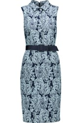 Badgley Mischka Belted Floral Jacquard Dress Multi