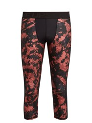 The Upside Tie Dye Print Cropped Performance Leggings Red Multi