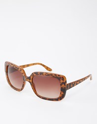 Monki Square Sunglasses Tortoise Brown