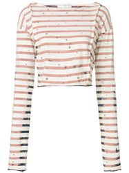 Faith Connexion Striped Cropped T Shirt Nude And Neutrals