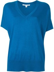 Diane Von Furstenberg V Neck Knit Top Blue