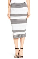 Press Women's Reversible Jersey Tube Skirt Wide Cream Stripe