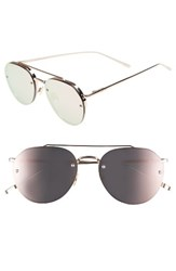 Perverse Women's 56Mm Round Stainless Steel Aviator Sunglasses Gold Pink Gold Pink