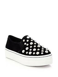 Alice Olivia Sasha Suede And Faux Pearl Slip On Sneakers Black