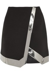 Thierry Mugler Mirrored Faux Leather Trimmed Wool Crepe Mini Skirt Black