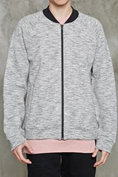 Forever 21 Marled Knit Bomber Jacket Heather Grey