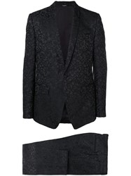 Dolce And Gabbana Floral Jacquard Two Piece Suit Black