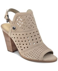 Marc Fisher Casha Block Heel Shooties Women's Shoes Taupe Suede