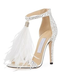 Jimmy Choo Viola Crystal Satin Sandal With Feather White