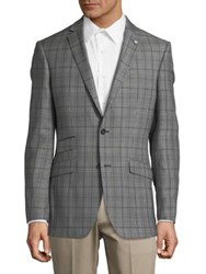 Ted Baker Plaid Wool Sportcoat Grey