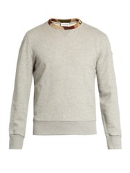 Moncler Contrast Trim Cotton Jersey Sweatshirt Grey