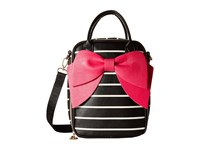 Betsey Johnson Bow Lunch Tote Black Stripe Tote Handbags