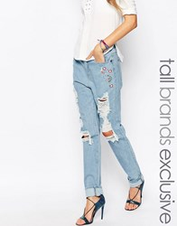Liquor And Poker Tall Extreme Distressed Boyfriend Jean With Floral Embroidery Detail Blue