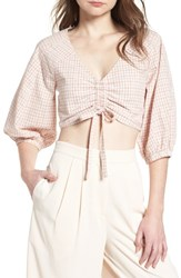 J.O.A. Chriselle X Ruched Front Crop Top Patina Gingham