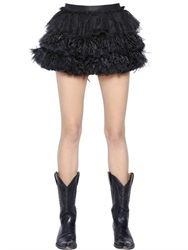 Faith Connexion Silk Lace And Ostrich Feather Mini Skirt