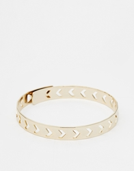 Orelia Chevron Cut Out Opening Bangle Palegold