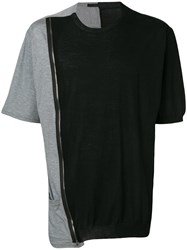 The Viridi Anne Zipped Long T Shirt Black