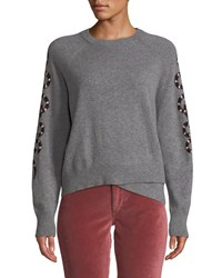 360 Sweater Serpent Intarsia Sleeve Crewneck Cashmere Gray Pattern