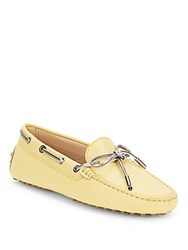 Tod's Moc Toe Leather Driving Loafers Yellow