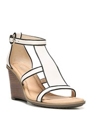 Dr. Scholl's Jacobs Bone Leather Wedge Sandals Off White Black