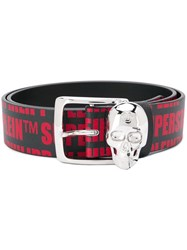 Philipp Plein Logo Print Belt Black