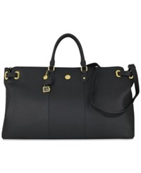 Joy Mangano Christie Leather Weekender Bag Black