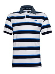 Raging Bull Stripe Rugby Neck Regular Fit Polo Shirt White