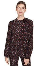 N 21 No. Long Sleeve Printed Blouse Stampa Fondo Nero