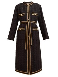Gucci Tape Embroidered Tweed Coat Black